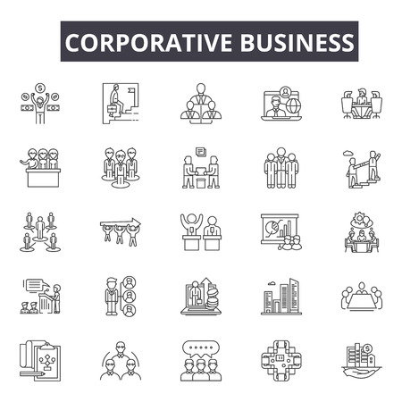 Corporative business line icons for web and mobile. Editable stroke signs. Corporative business  outline concept illustrations