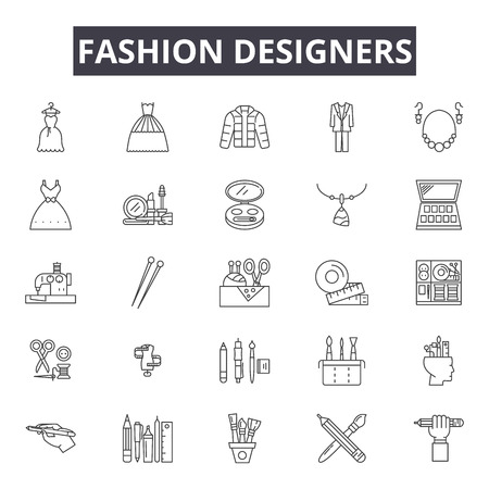 Fashion designers line icons for web and mobile. Editable stroke signs. Fashion designers  outline concept illustrations