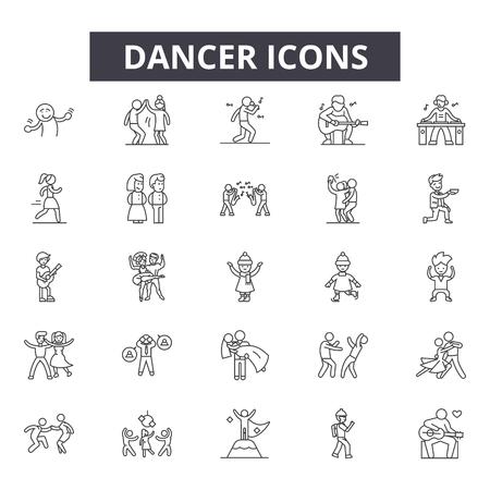 Dancer line icons for web and mobile. Editable stroke signs. Dancer  outline concept illustrations Illustration