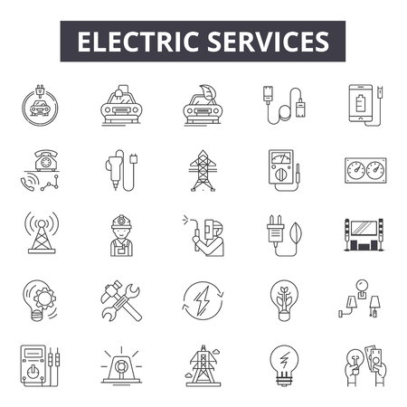 Electric services line icons for web and mobile. Editable stroke signs. Electric services  outline concept illustrations