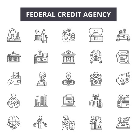 Federal credit agency line icons for web and mobile. Editable stroke signs. Federal credit agency  outline concept illustrations