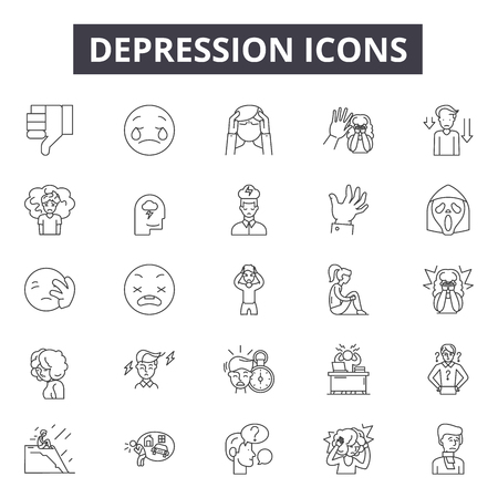 Depression line icons for web and mobile. Editable stroke signs. Depression  outline concept illustrations  イラスト・ベクター素材