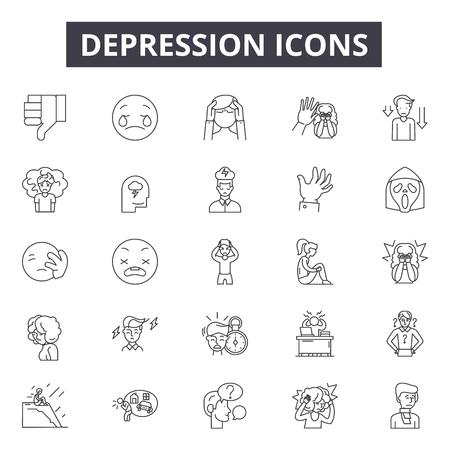 Iconos de línea de depresión para web y móvil. Signos de trazo editables. Ilustraciones del concepto de esquema de depresión