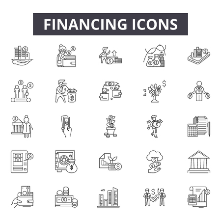 Financing line icons for web and mobile. Editable stroke signs. Financing  outline concept illustrations
