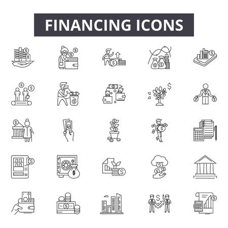 Iconos de línea de financiación para web y móvil. Signos de trazo editables. Ilustraciones del concepto de esquema de financiación Ilustración de vector