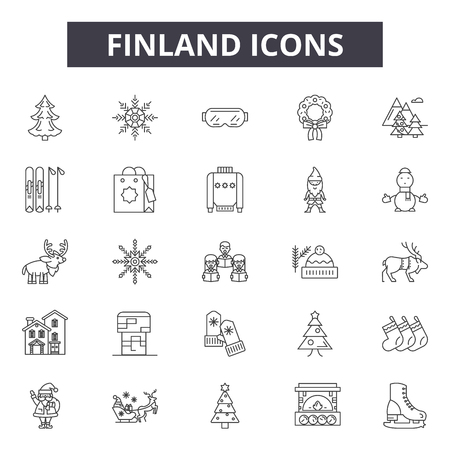 Finland line icons for web and mobile. Editable stroke signs. Finland  outline concept illustrations 免版税图像 - 119390208