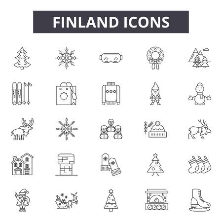 Icone della linea Finlandia per web e mobile. Segni di tratto modificabili. Illustrazioni del concetto di contorno della Finlandia Vettoriali