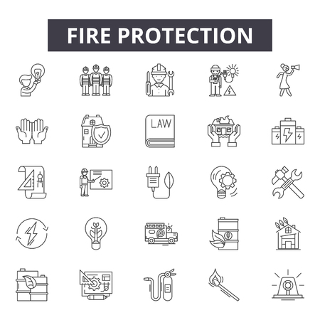 Fire protection line icons for web and mobile. Editable stroke signs. Fire protection  outline concept illustrations