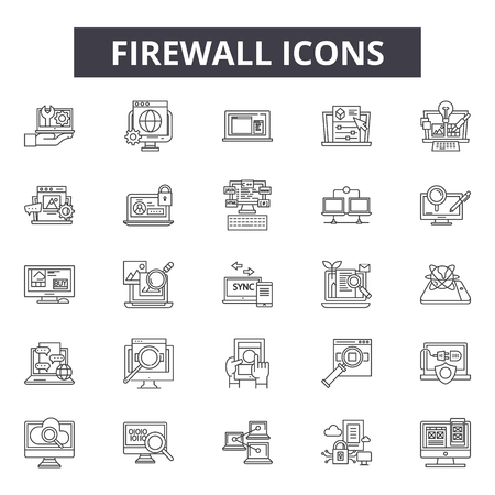 Firewall line icons for web and mobile. Editable stroke signs. Firewall  outline concept illustrations