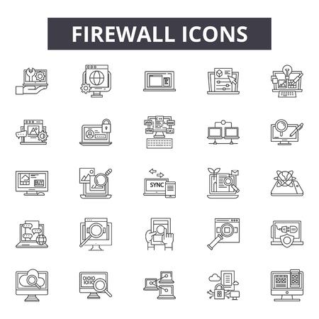 Iconos de línea de firewall para web y móvil. Signos de trazo editables. Ilustraciones del concepto de esquema de firewall Ilustración de vector