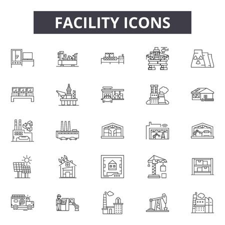 Faciliteit lijn iconen voor web en mobiel. Bewerkbare lijntekens. Illustraties faciliteit overzicht concept Vector Illustratie