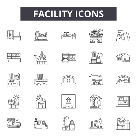Facility line icons for web and mobile. Editable stroke signs. Facility outline concept illustrations
