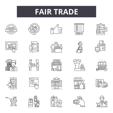 Fair trade line icons for web and mobile. Editable stroke signs. Fair trade  outline concept illustrations