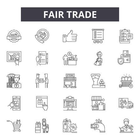 Iconos de línea de comercio justo para web y móvil. Signos de trazo editables. Ilustraciones del concepto de esquema de comercio justo