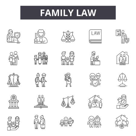Familienrecht-Liniensymbole für Web und Mobile. Bearbeitbare Strichzeichen. Illustrationen zum Konzept des Familienrechts Vektorgrafik