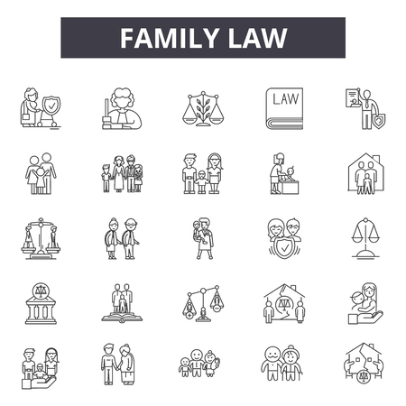 Family law line icons for web and mobile. Editable stroke signs. Family law  outline concept illustrations Illustration