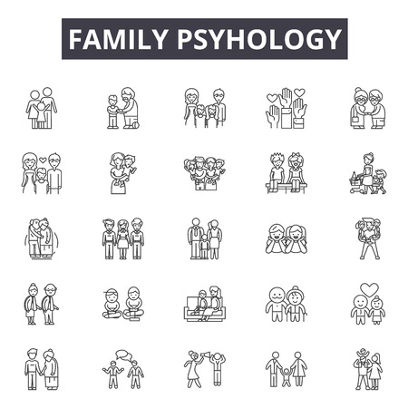 Family psyhology line icons for web and mobile. Editable stroke signs. Family psyhology  outline concept illustrations