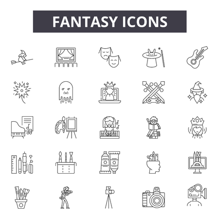 Fantasy line icons for web and mobile. Editable stroke signs. Fantasy  outline concept illustrations Illustration