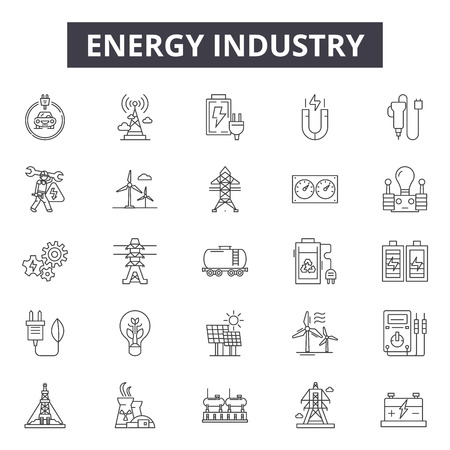 Energy industry line icons for web and mobile. Editable stroke signs. Energy industry  outline concept illustrations