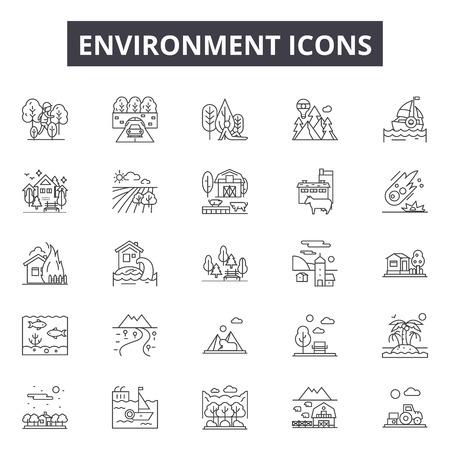 Environment line icons for web and mobile. Editable stroke signs. Environment outline concept illustrations Ilustração Vetorial