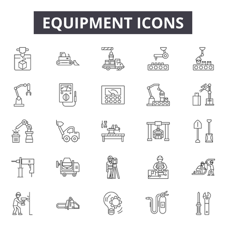 Equipment line icons for web and mobile. Editable stroke signs. Equipment  outline concept illustrations