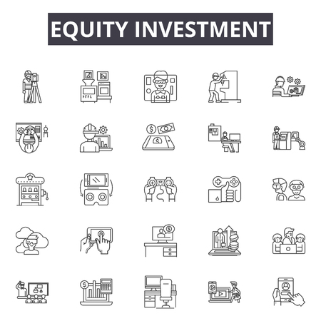 Equity investment line icons for web and mobile. Editable stroke signs. Equity investment  outline concept illustrations Illustration