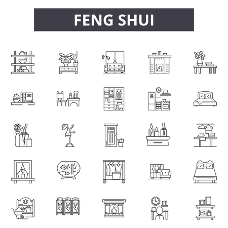 Feng shui line icons for web and mobile. Editable stroke signs. Feng shui  outline concept illustrations Illustration