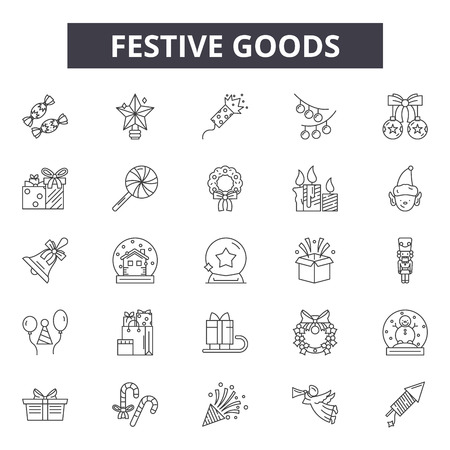 Festive goods line icons for web and mobile. Editable stroke signs. Festive goods  outline concept illustrations