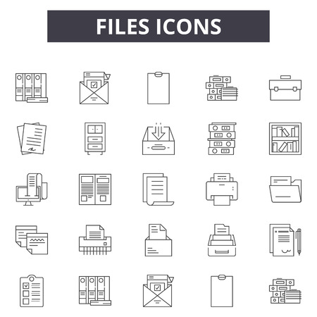 Files line icons for web and mobile. Editable stroke signs. Files  outline concept illustrations Illustration