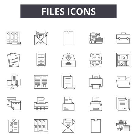 Iconos de línea de archivos para web y móvil. Signos de trazo editables. Ilustraciones de concepto de esquema de archivos Ilustración de vector