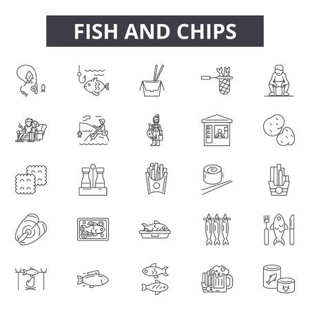 Icônes de ligne fish and chips pour le web et le mobile. Signes de course modifiables. Fish and chips décrivent des illustrations de concept