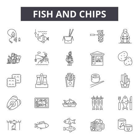Fish and chips line icons for web and mobile. Editable stroke signs. Fish and chips  outline concept illustrations