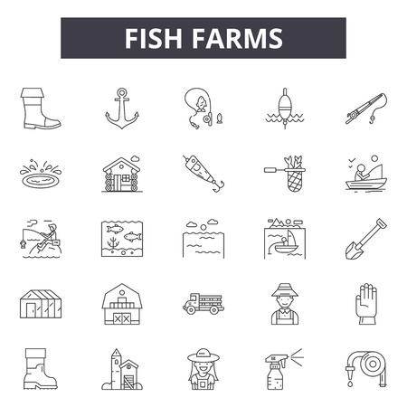 Fish farms line icons for web and mobile. Editable stroke signs. Fish farms  outline concept illustrations