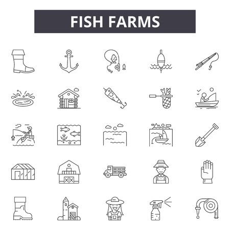 Iconos de línea de piscifactorías para web y móvil. Signos de trazo editables. Las granjas de peces describen las ilustraciones del concepto