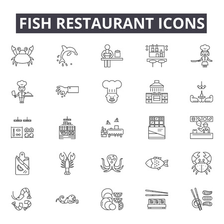 Fish restaurant line icons for web and mobile. Editable stroke signs. Fish restaurant  outline concept illustrations