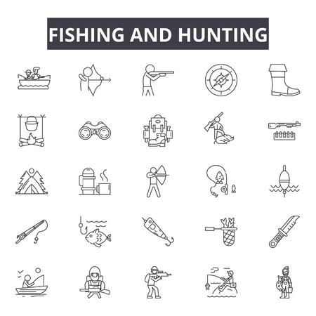 Fishing and hunting line icons for web and mobile. Editable stroke signs. Fishing and hunting  outline concept illustrations