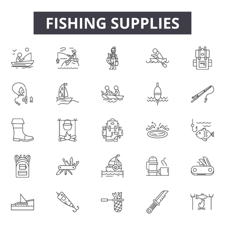 Fishing supplies line icons for web and mobile. Editable stroke signs. Fishing supplies  outline concept illustrations