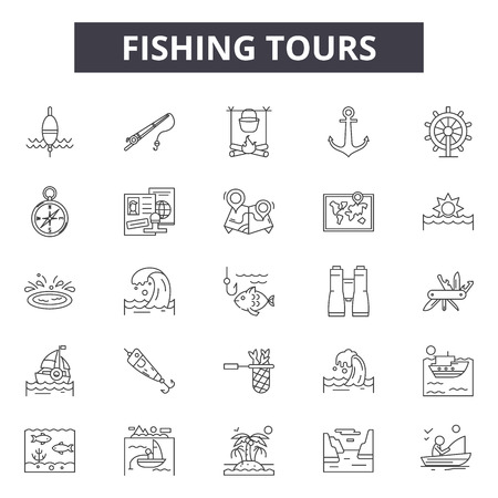 Fishing tours line icons for web and mobile. Editable stroke signs. Fishing tours  outline concept illustrations
