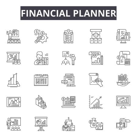 Finanzplaner-Liniensymbole für Web und Mobile. Bearbeitbare Strichzeichen. Illustrationen zum Konzept des Finanzplaners