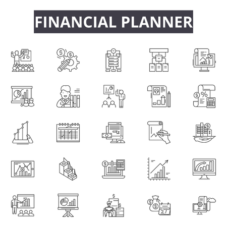 Financial planner line icons for web and mobile. Editable stroke signs. Financial planner  outline concept illustrations