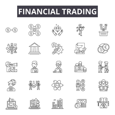 Financial trading line icons for web and mobile. Editable stroke signs. Financial trading outline concept illustrations
