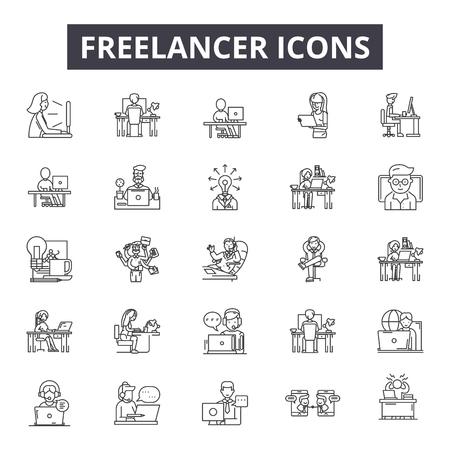 Freelance line icons for web and mobile. Editable stroke signs. Freelance outline concept illustrations