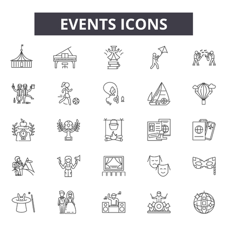 Events line icons for web and mobile. Editable stroke signs. Events  outline concept illustrations