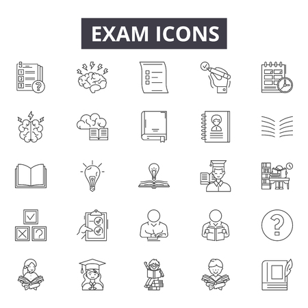 Exam line icons for web and mobile. Editable stroke signs. Exam outline concept illustrations