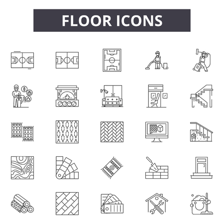 Piętro ikony linii ikony dla sieci web i mobile. Edytowalne znaki obrysu. Ikony podłogowe zarys koncepcji ilustracje Ilustracje wektorowe