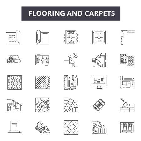 Flooring and carpets line icons for web and mobile. Editable stroke signs. Flooring and carpets  outline concept illustrations