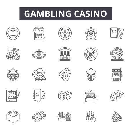 Gambling casino line icons for web and mobile. Editable stroke signs. Gambling casino outline concept illustrations