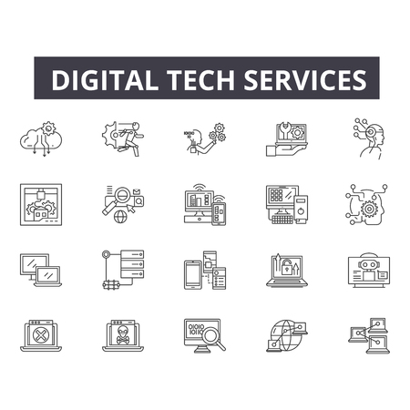 Digital tech services line icons for web and mobile. Editable stroke signs. Digital tech services  outline concept illustrations