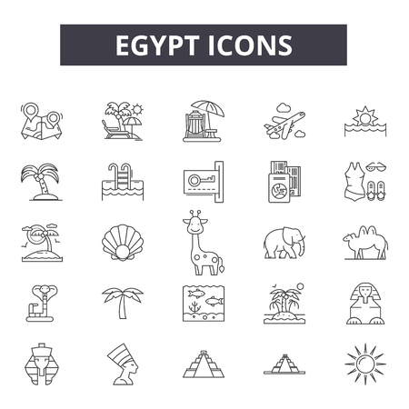Egypt line icons for web and mobile. Editable stroke signs. Egypt  outline concept illustrations