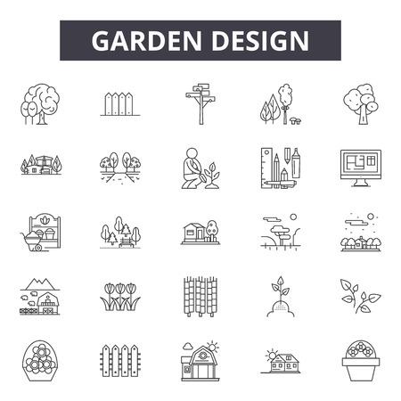Iconos de línea de diseño de jardín para web y móvil. Signos de trazo editables. Ilustraciones de concepto de esquema de diseño de jardín